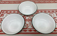 """3 Corelle 6&1/4"""" Cereal Soup Bowls With Dark Green Rim Stripe"""