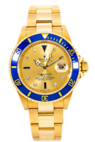ROLEX SUBMARINER DATE WATCH 16618 40MM CHAMPAGNE SERTI DIAL  YELLOW GOLD
