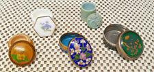Lote De 5 Antiguos Pastillero Cristal Cloisonné, Porcelana, Madera Colección
