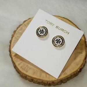 TORY BURCH ENAMEL PAVE STUD EARRINGS WHITE