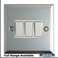 Volex 3 gang 2 way 10A Light Switch Polished Chrome with White Inserts