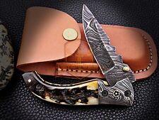 Custom Made Damascus Folding Knife Damascus steel Mosaic Bolster Sheep Horn