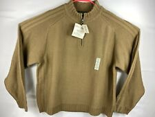 New $100 Eddie Bauer Mens 1/4 Zip Long Sleeve Merino Wool Camel Sweater Sz XL