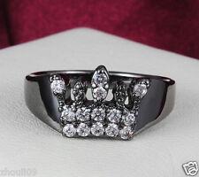 Black Gold Filled White Sapphire Birthstone Gemstone Size8 Wedding Ring Gift 408