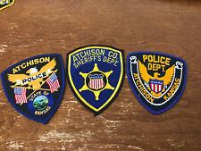 Lot of 3 Atchison, Kansas Collectible Police Uniform Shoulder Patches