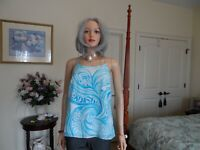 New Lilly Pulitzer 100% Silk Light Blue/White Print Summer Blouse Size XS