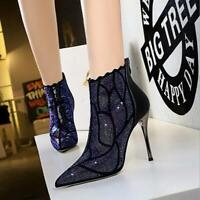 Women's Rhinestone High Heels Pointed Toe Zip Stiletto Ankle Boots Leather Shoes