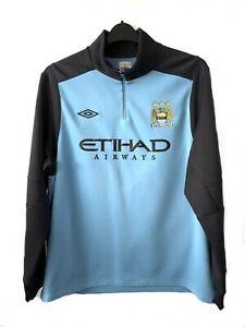 Manchester City football Sweatshirt Blue Grey Sweater Training Drill Jumper XXL