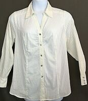LANE BRYANT White Blouse 18 Long Sleeve Fitted Career Stretch Dressy Bling #1044