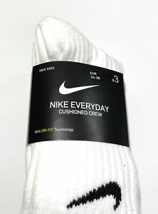 NIKE Everyday Cushioned Crew Kids Youth Unisex White Socks SX6842-100 3 Pairs S