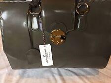 Alberta Di Canio Grey Leather Satchel Handbag Made In Italy NWT