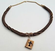 Human Hair Necklace W/ Bible Estate Antique Gold Filled Mourning Jewelry-Weaved
