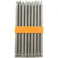 """9 PIECE EXTRA LONG MAGNETIC 6"""" INCH POWER DRILL CHROME DRIVER BIT SET"""