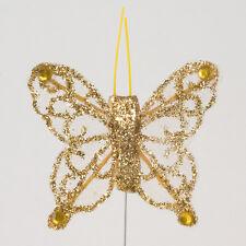 24 Sheer Glitter Butterflies Florist Cake Wedding Decoration Craft