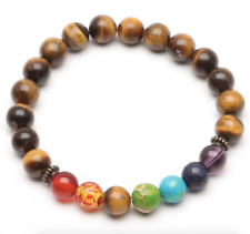 UK Tigers Eye Chakra 7 Crystal Gemstone Bead Bracelet.Reiki Healing Balance