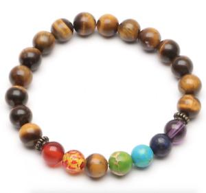 UK Tigers Eye Chakra 7 Crystal Gemstone Bead Bracelet.Reiki Healing Balance