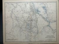 1884 Abyssinia & Upper Nubia Large Hand Coloured Antique Map by A.K. Johnston