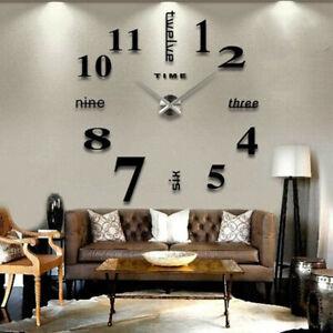 New Frameless DIY Wall Mute Clock 3D Mirror Surface Sticker Home Office Decor Tc