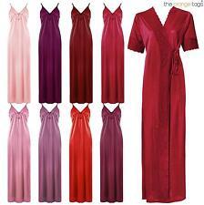 Full Length Satin Patternless Everyday Nightwear for Women
