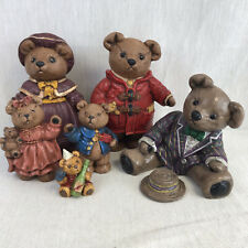 Collection Of Vintage Handmade Ceramic Teddy Bears Made by Barbara Anderson