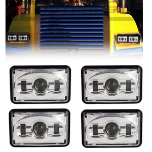"Eagle Lights 4 Pack Chrome 4 x 6"" LED Headlights For Chevrolet GMC Ford Kenworth"
