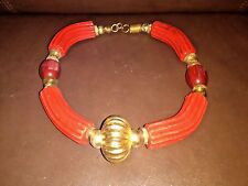Handmade Red Stone and Red Bead Collar