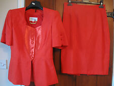 Size 10 Skirt Suit Red Short Sleeves Formal Wedding Races Outfit Mother of Bride
