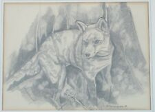 Vintage Original Mid Century 1968 Puppy Drawing by E.S. Cunningham Listed