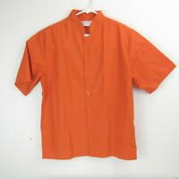 Happy Chef Unisex Cook Shirt Uniform XS Orange Button Front Short Sleeve