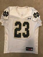 TEAM ISSUED USED NOTRE DAME FOOTBALL UNDER ARMOUR WHITE PRACTICE JERSEY #23