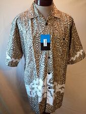 NWT Designs for Him Aloha Shirt Green/Beige Size L