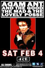 ADAM ANT 2012 SAN DIEGO CONCERT TOUR POSTER - New Wave Post-Punk Music