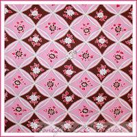 BonEful Fabric FQ Cotton Quilt Pink Brown White Rose Flower Girl Garden Cottage