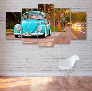 VW Beetle Classic Car 5 Panel Canvas, 5 Piece Wall Art, Multi Panel #050