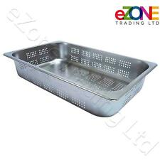 More details for perforated gastronorm pan 1/1 stainless steel combi oven steamer tray bain marie