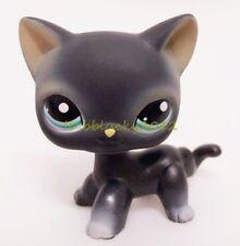 LPS Littlest Pet Shop Black Short Hair Cat Kitty Blue Eyes Figure Toy CN