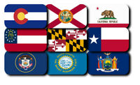 All 50 United State Flag Iron On Patch Emblem 4.5x2.5 in or 3.5 x 1.5 in