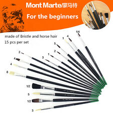 15pcs Mont Marte Bristle Horse Hair Brush Set For Beginner's Watercolor Painting