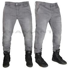 Jeans Uomo Denim Tasca America Pantaloni Comfort Elasticizzati Grigio Nuovo 8042