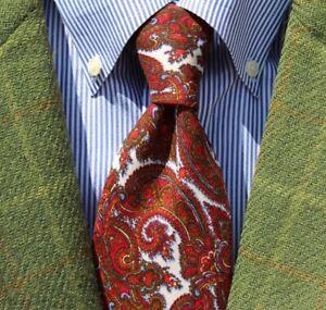Meier & Frank Vintage White, Red, Gold, Lt. Blue, & Black Wool Tie - Scotland