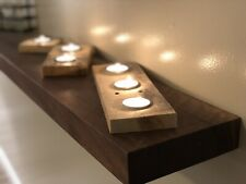 Complete Set Of 3- tea light candle Holders, Rustic Reclaimed Wood Decor
