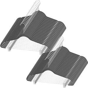 Gray Velvet Skirt Hangers with Adjustable Clips and 360°-Swivel Hook (Set of 40)