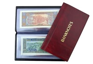Pocket Size Banknote ALBUM with 20 pages 8 x 17 cm Notes Folder Book RED