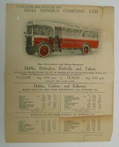 IRISH OMNIBUS COMPANY LTD.3rd OCTOBER 1927 ~ OMNIBUS SERVICES FROM DUBLIN T/T