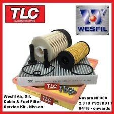 Wesfil Air Oil Fuel Cabin Filter Kit Navara NP300 2.3 TD YD23DDTT 04/15 - on