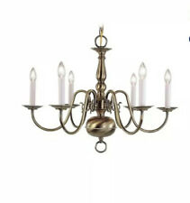Livex Lighting-5006-01-Williamsburgh - Six Light Chandelier  Antique Brass