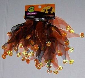 NWT Halloween Scrunchie Pet Collar w Pumpkins Dog Cat Neckwear Small Large