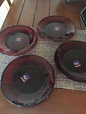4/Set Red Ruby Cristal Cut Glass France D'arques Luminarc Salad Plates bx37