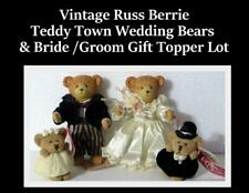 Vtg Russ Berrie Teddy Town Wedding Bride Groom & Gift Topper Bridal Shower Lace