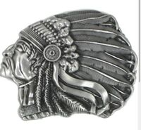 BELT Buckle Indian MEN WOMEN VINTAGE COW ABALONE SILVER HIGH QUALITY